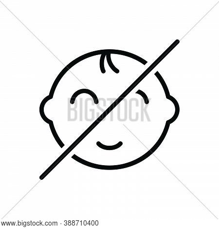 Black Line Icon For Away Far Aloof Far-out Gone Distant Elsewhere Prohibited No-baby Child Not Allow