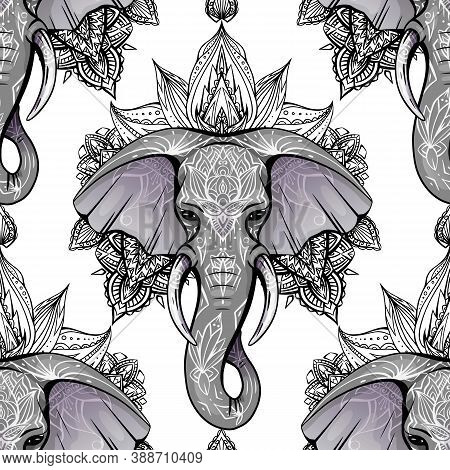 Seamless Pattern With Ethnic Elephant Head With Mehendi Decoration And Mandala On White Background.
