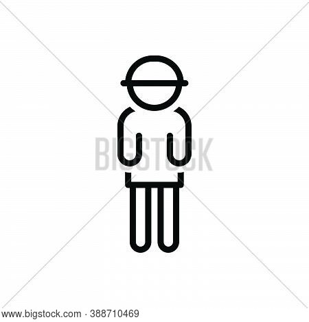 Black Line Icon For Boy Bloke Lad Youngster Juvenile Jack Fellow Youth Pupil Child