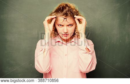 Dont Bother Me. Formal Informal And Nonformal Education. Girl Teacher At Lesson. Angry Student In Gl