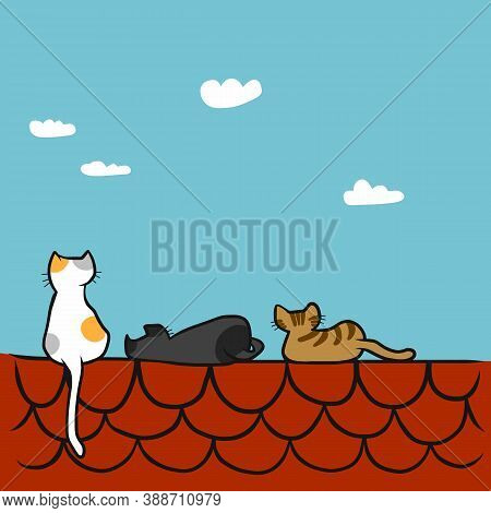 Cats Sitting On A Red Roof, Cartoon Vector Illustration