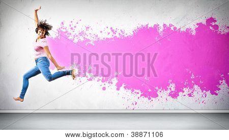 Modern style female dancer jumping and posing. Illustration