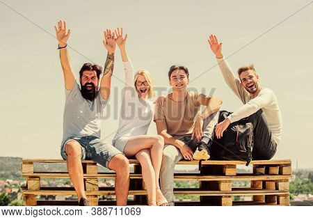 That Is Just Amazing. Happy Men And Girl Relax. Group Of People In Casual Wear. Group Of Four People