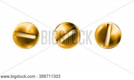 Set Golden Screws Heads, Shiny Bolt Caps. Twisted In Surface Screw Isolated On White Background. Top