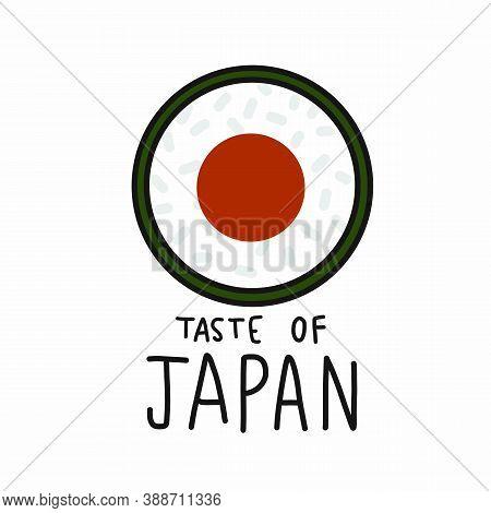 Sushi Roll Taste Of Japan Cartoon Vector Illustration