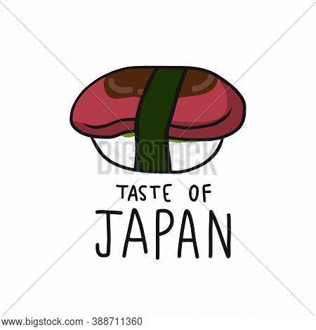 Maguro (tuna) Sushi Taste Of Japan Cartoon Vector Illustration