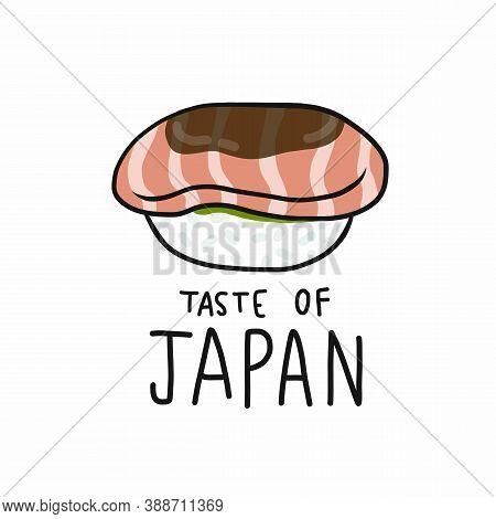 Salmon Sushi Taste Of Japan Cartoon Vector Illustration