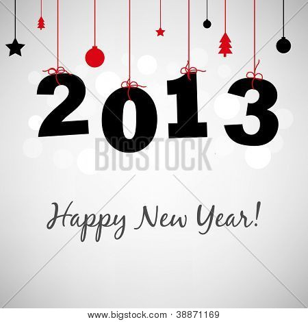 2013 Happy New Years Card, Vector Illustration