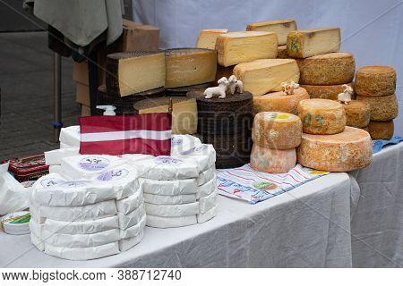 Riga, Latvia - September 20 2020: Variety Homemade Latvian Bio Natural Cheese In A Street Food Marke