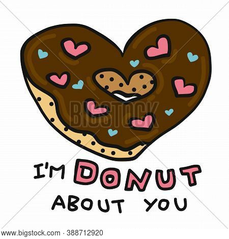 I'm Donut About You, Donut Heart Shape Cartoon Vector Illustration