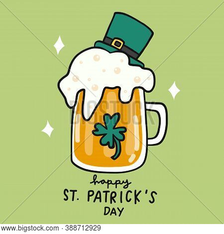 Happy St. Patrick\'s Day, Beer Cartoon Vector Illustration