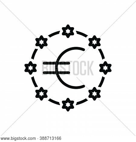 Black Line Icon For European Union Community Flag Banner Continent Country Currency Nation Democracy