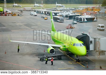 S7 Airlines Original Colorway Plane At Airfield. Domodedovo Airport, Russia - August 2020