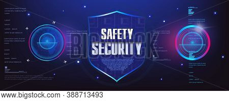 Security Shield. Safety And Security. Futuristic Cyber Banner With The Concept Of Protecting Your Da