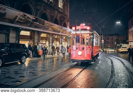 Vintage Tram At Tunel Station In The Rainy Evening. Istanbul, Turkey - December 2019