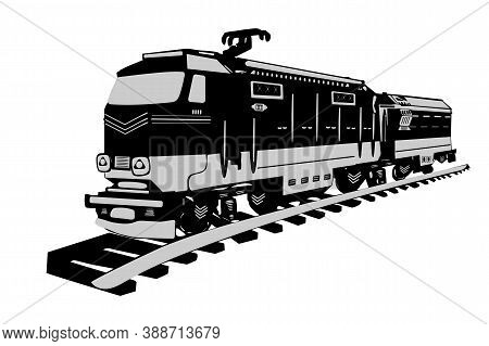 High Speed Train Isolated On White Background. Locomotive Icon, Logo Or Sign In Flat Style. Fast Car