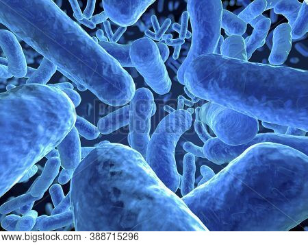 Close-up Of Virus Cells Or Bacteria. Flu And Viral Disease Outbreak, View Of A Virus Under A Microsc