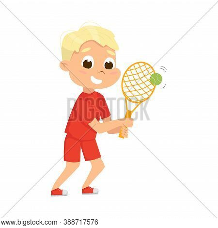 Cute Boy Playing Tennis As Physical Culture Vector Illustration
