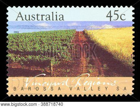 Australia - Circa 1992: A Stamp Printed In Australia Shows The Barossa Valley, Vineyard Regions, Sou