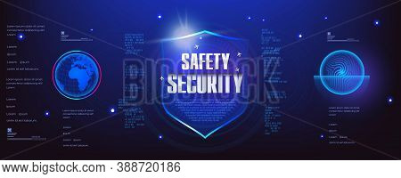Safety And Security. Futuristic Cyber Banner With The Concept Of Protecting Your Data From Unauthori