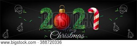 2021 Happy New Year And Merry Christmas Horizontal Posters, Vector Illustration - New Year 2021 Gree