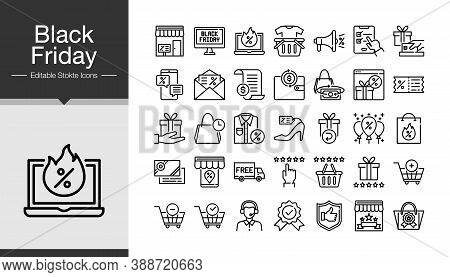 Black Friday Icons. Modern Line Design. Icon Set Of Black Friday And Cyber Monday. For Presentation,