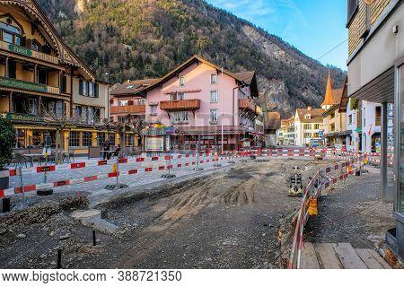 Interlaken, Switzerland Match 27 : Closure Road - Reconstruction And Roadroller/ Reconstruction Old