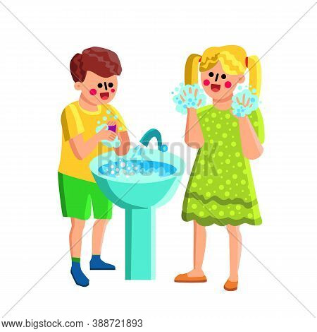 Boy And Girl Washing Soapy Hands In Sink Vector