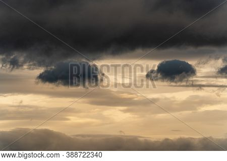Beautiful Dramatic Thunderstorm Clouds In Sky During Rain. Dramatic Natural Cloudiness Weather Backg