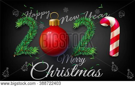 2021 Happy New Year And Merry Christmas Greeting Card, Vector Illustration - New Year 2021 Greeting