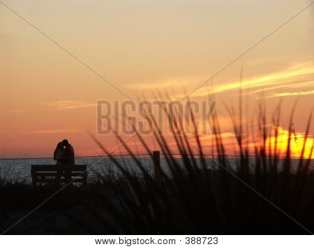Love On The Beach At Sunset