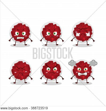 Mashed Cranberry Cartoon Character With Various Angry Expressions