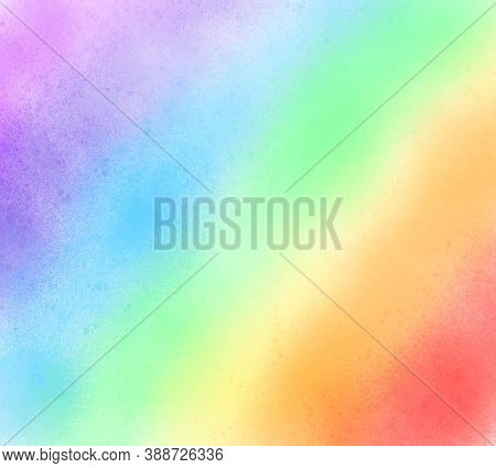 Rainbow Pastel Color Background. Colorful Bright Watercolor Stylized Striped Wet Brush Paint Stroke