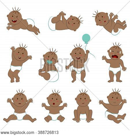 Vector Collection Of Toddlers With Light Brown Skin, Brown Eyes And Hair. Eleven Poses And Moods Of