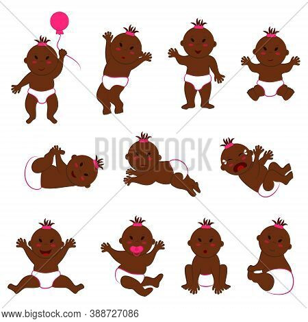 Vector Collection Of Movements Of Dark-skinned Baby Girl With Slanted Eyes. Eleven Different Poses A