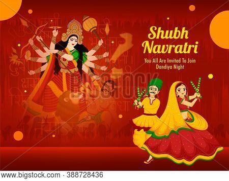 Illustration Of Maa Durga And Couple Dancing With Dandiya For On The Celebration Of Happy Navratri.