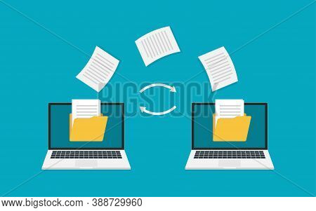 File Transfer. Two Laptops With Folders On Screen And Transferred Documents. Copy Files, Data Transf