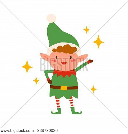 Cute Happy Christmas Elf Isolated On White Background. Funny Little Santa Helper Wearing Xmas Hat An