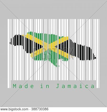 Barcode Set The Shape To Jamaica Map Outline And The Color Of Jamaica Flag On White Barcode With Gre