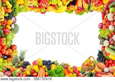 Ripe fruits and vegetables in form frame isolated on white background.