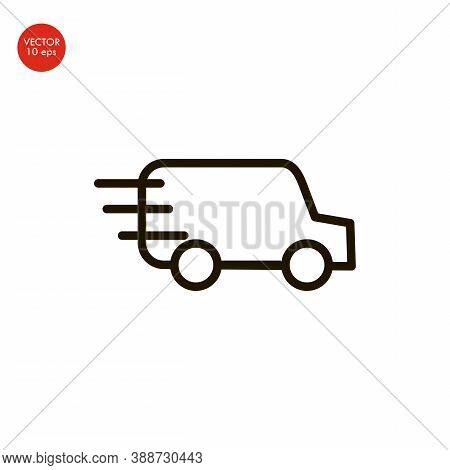 Freight Transport. Contour Symbol. Vector Isolated Outline Drawing. Editable Stroke