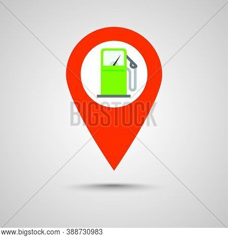 Gas Petrol Fuel Station Pin Pointer Marker Icon Vector, Gasoline Refill Pump Map Location Position P