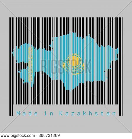 Barcode Set The Shape To Kazakhstan Map Outline And The Color Of Kazakhstan Flag On Black Barcode Wi