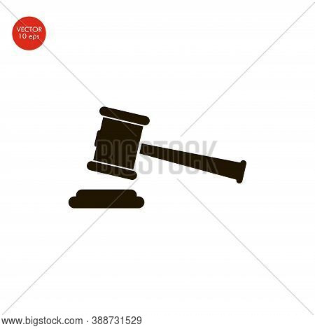 Flat Image Of The Icon Hammer Court. Vector Illustration 10 Eps