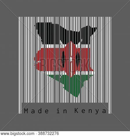 Barcode Set The Shape To Kenya Map Outline And The Color Of Kenya Flag On Light Grey Barcode With Gr