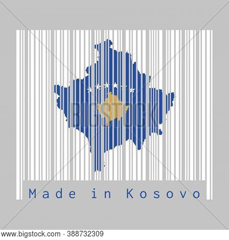 Barcode Set The Shape To Kosovo Map Outline And The Color Of Kosovo Flag On White Barcode With Grey