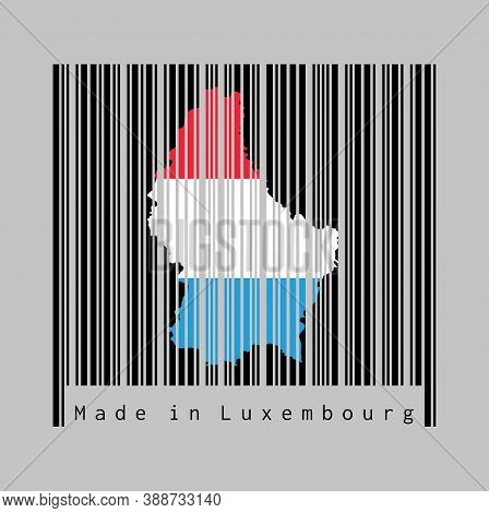 Barcode Set The Shape To Luxembourg Map Outline And The Color Of Luxembourg Flag On Black Barcode Wi