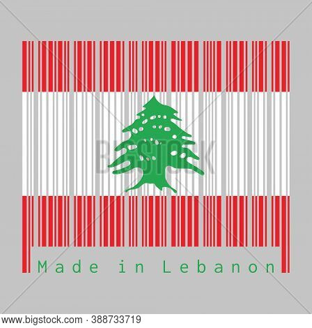 Barcode Set The Color Of Lebanon Flag, Triband Of Red And White, Charged With A Green Lebanon Cedar.
