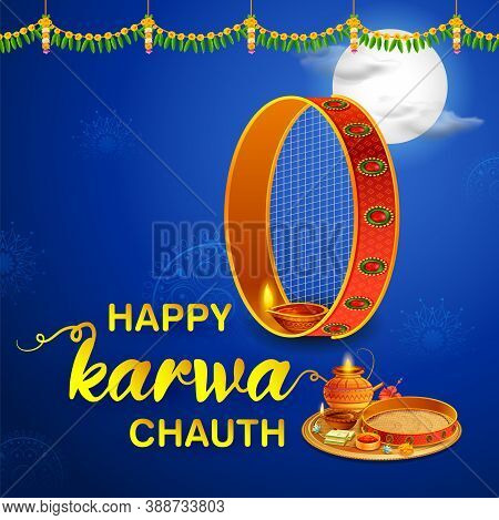 Illustration Of Decorated Pooja Thali For Greetings On Indian Hindu Festival Happy Karwa Chauth
