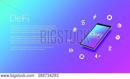 Defi Decentralized Finance Information Website Header Mockup With Realistic Isometric Smartphone And